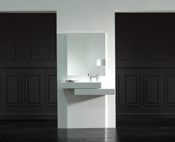 Elegante y moderno mueble recibidor en blanco estilo minimalista - mueble minimalista