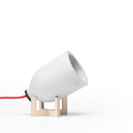 Spotlight Table Lamp // Light Grey // Birch Stand