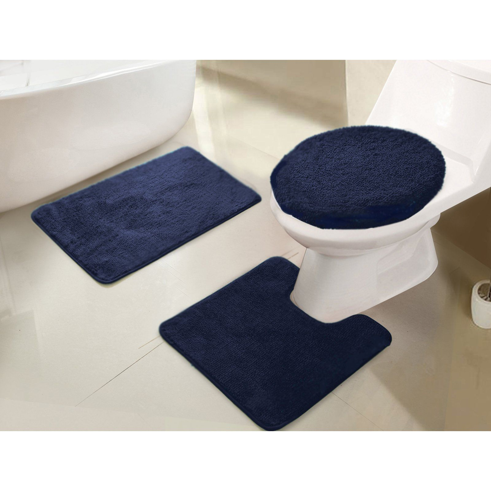 Rt Designers Collection Imperial 3 Piece Bath Rug Set Navy White