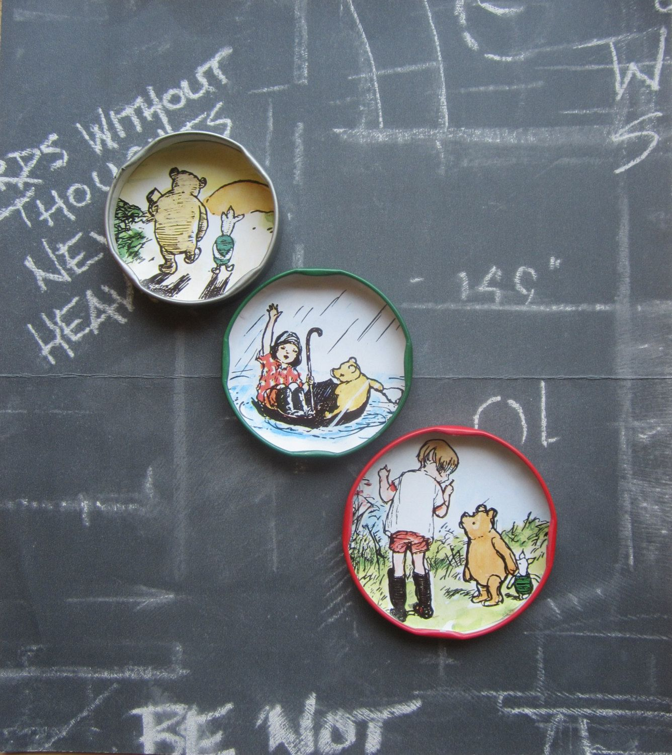 lovely Winnie The Pooh Kitchen Decor #4: Winnie the pooh fridge magnets upcycled jar lids small gift refrigerator  magnets funny fridge decor cute kitsch kitchen retro unique gifts