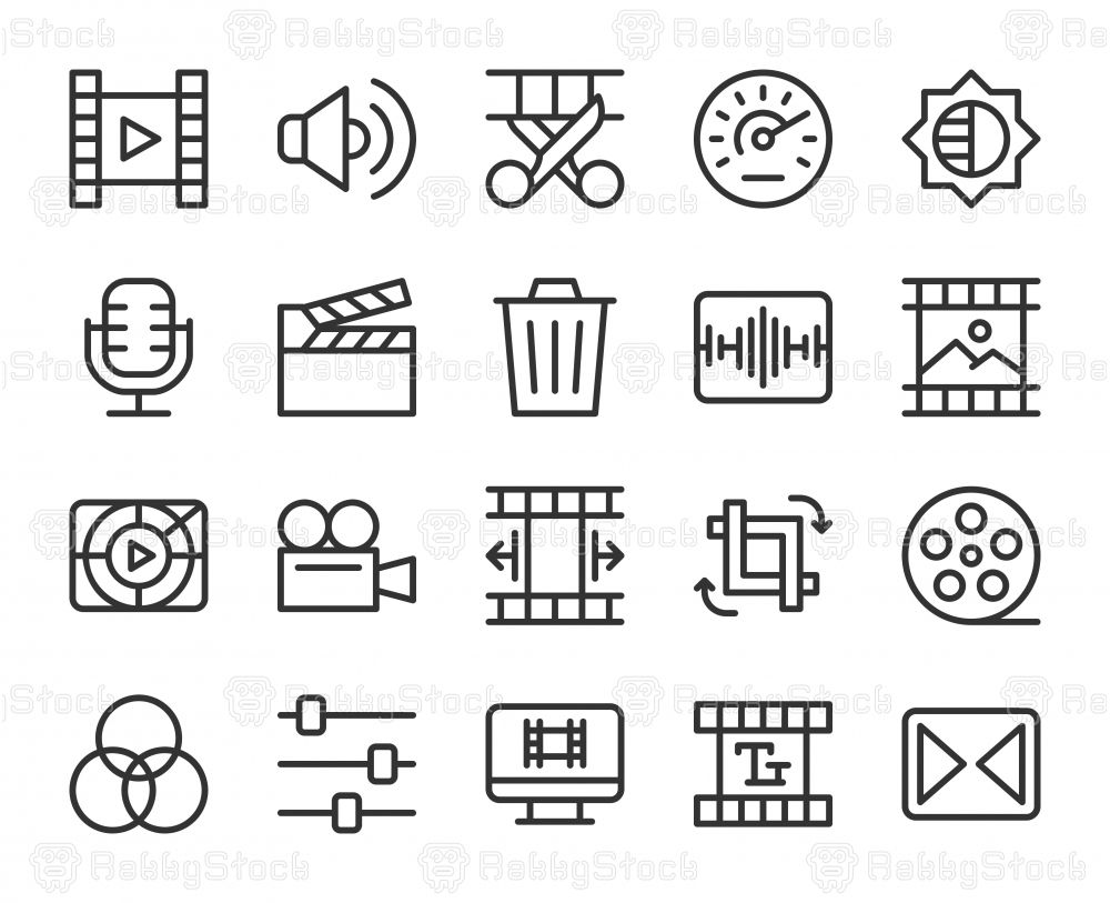 Movie Making and Video Editing Line Icons Vector EPS File