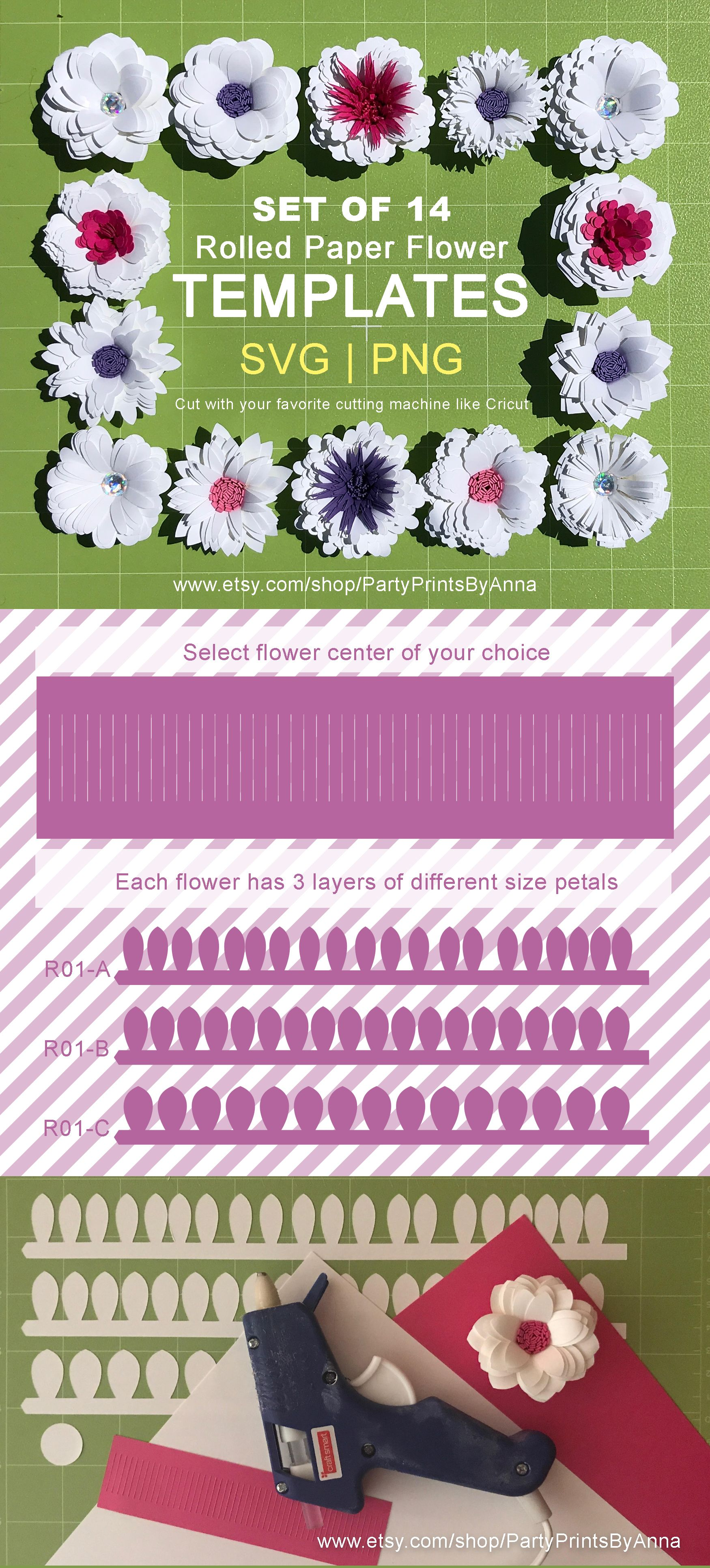 Rolled Svgpng Paper Flower Templates Diy Small 2 Inch Rolled
