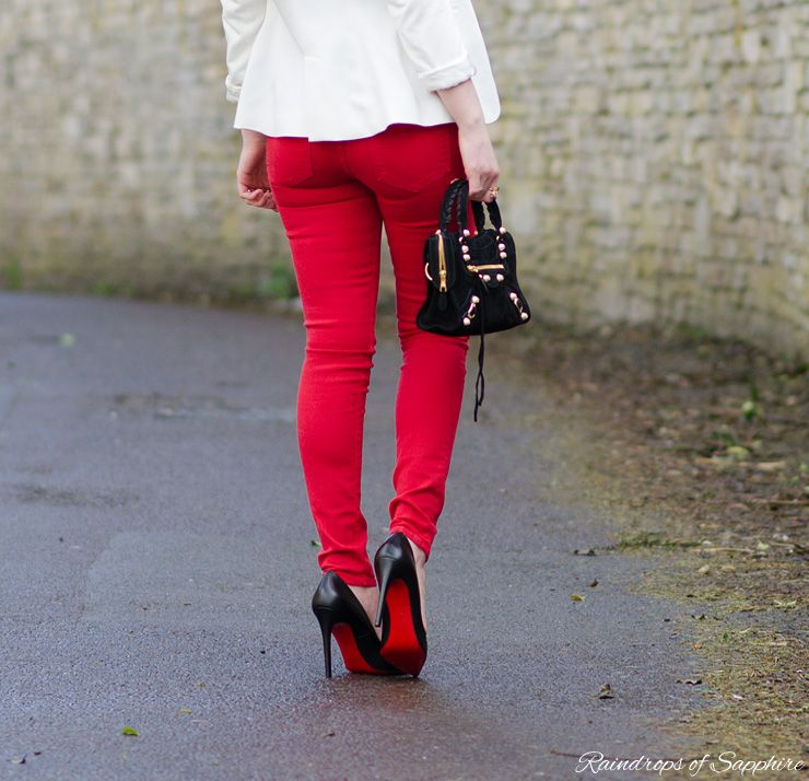 f0c98f76b6 Red Rebecca Minkoff Skinny Jeans With Black  amp  White