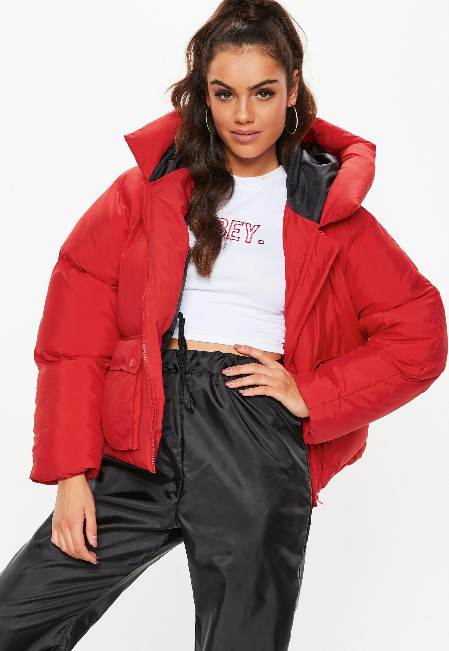 Red Oversized Hooded Ultimate Puffer Jacket Red Puffer Jacket Coats Jackets Women Jackets [ 2608 x 1800 Pixel ]