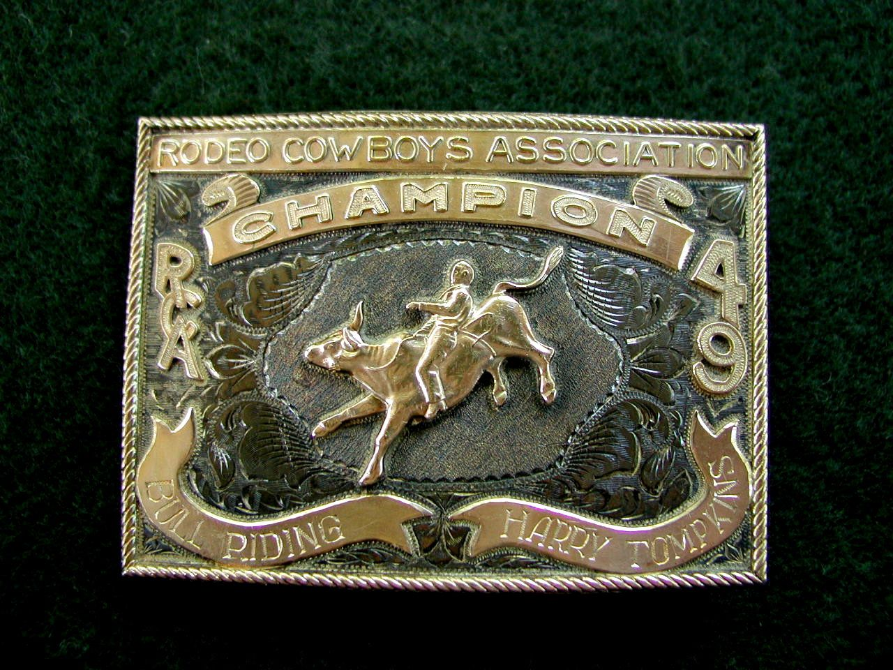 1949 Rca Champion Bull Rider Rodeo Trophy Buckles In