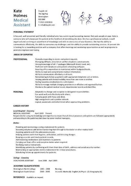 Medical Assistant Student Resume Templates cakepinscom Nursing