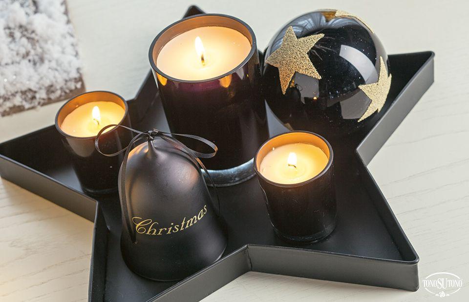 Natale TonoSUTono | Centrotavola di Natale oro e nero con vassoio stella e candele profumate