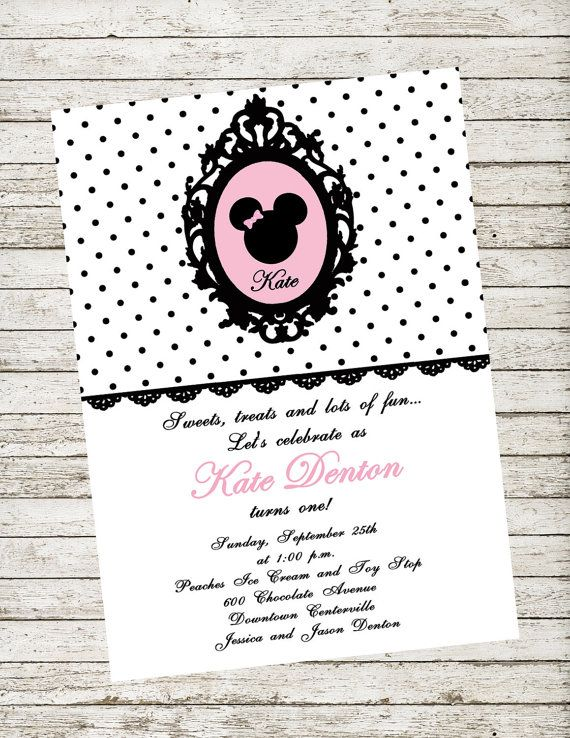 Cute Shabby Chic Pink White and Black Minnie Mouse Printable