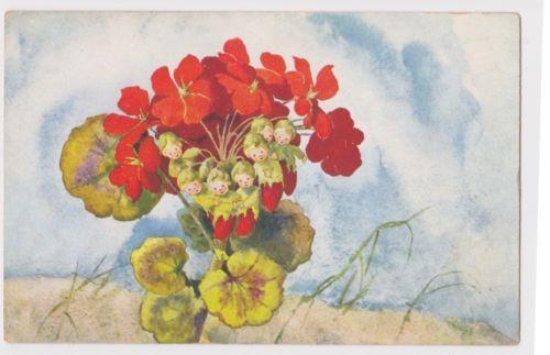 Mili Weber card | eBay Pixies in geranium