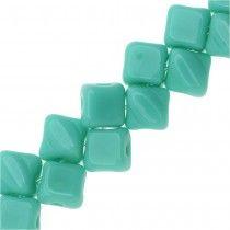 Czech Glass Mini 2-Hole Silky Beads, 5mm Diamond Shape, 40 Pieces, Green Turquoise