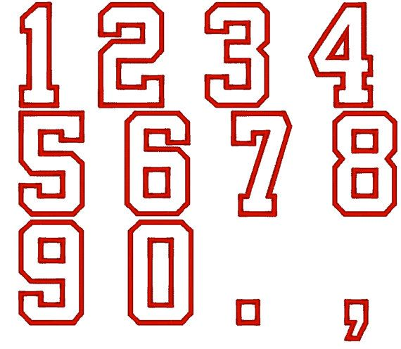 Player Numbers Font, Varsity Collegiate  machine embroidery