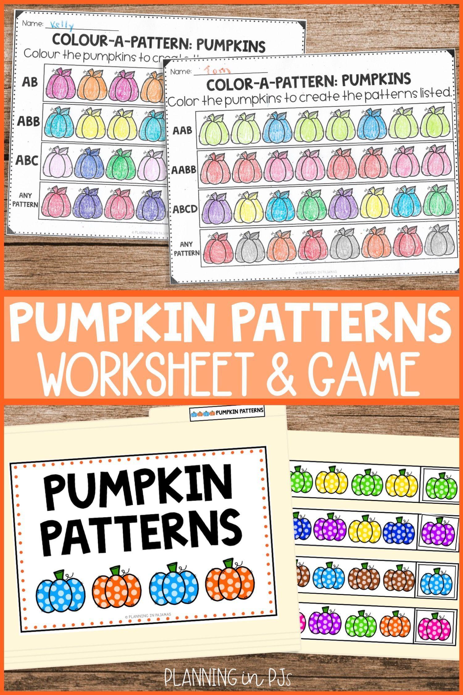 Pumpkin Patterns Worksheets File Folder Game Pattern Worksheet File Folder Games Preschool Folder Games [ 2249 x 1500 Pixel ]