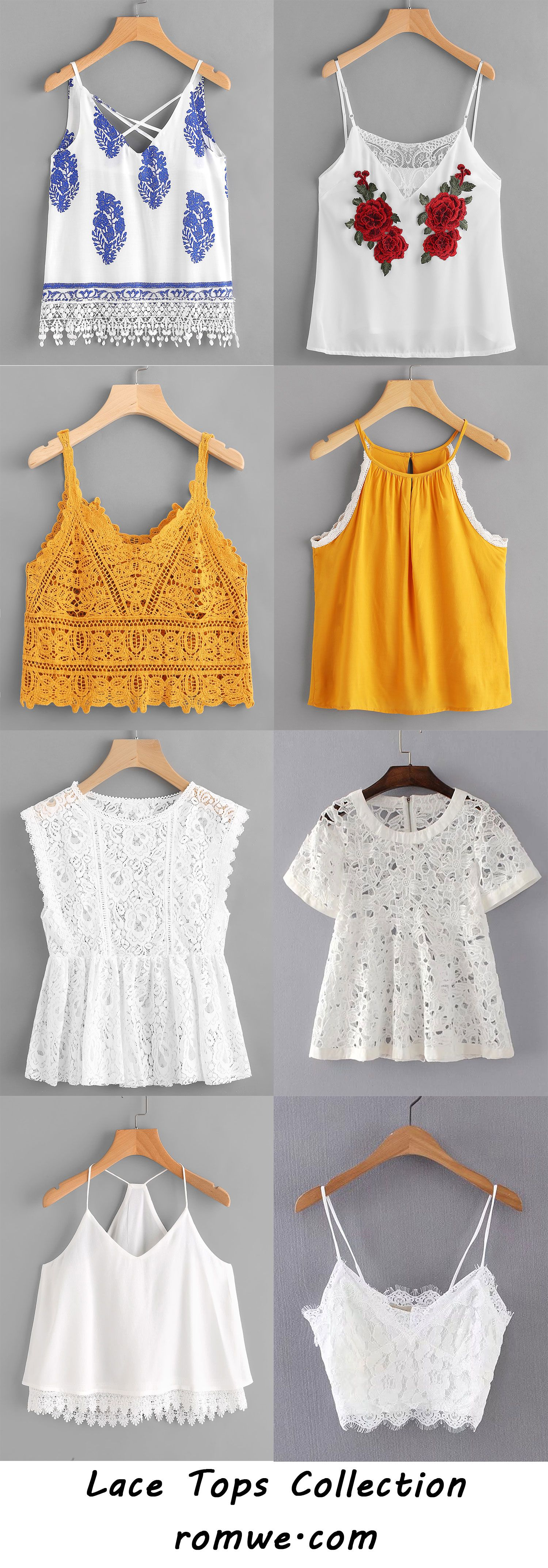Lace Tops Collection 2017 - romwe.com