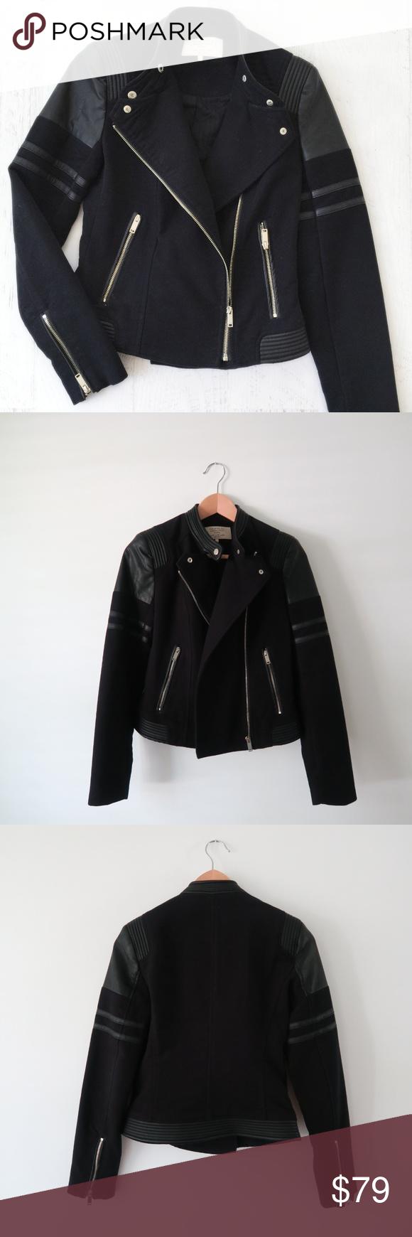 Zara Trafaluc Silver Black Cool Biker Jacket Xs Zara Winter Jacket Coats Jackets Women Outerwear Jackets [ 1740 x 580 Pixel ]