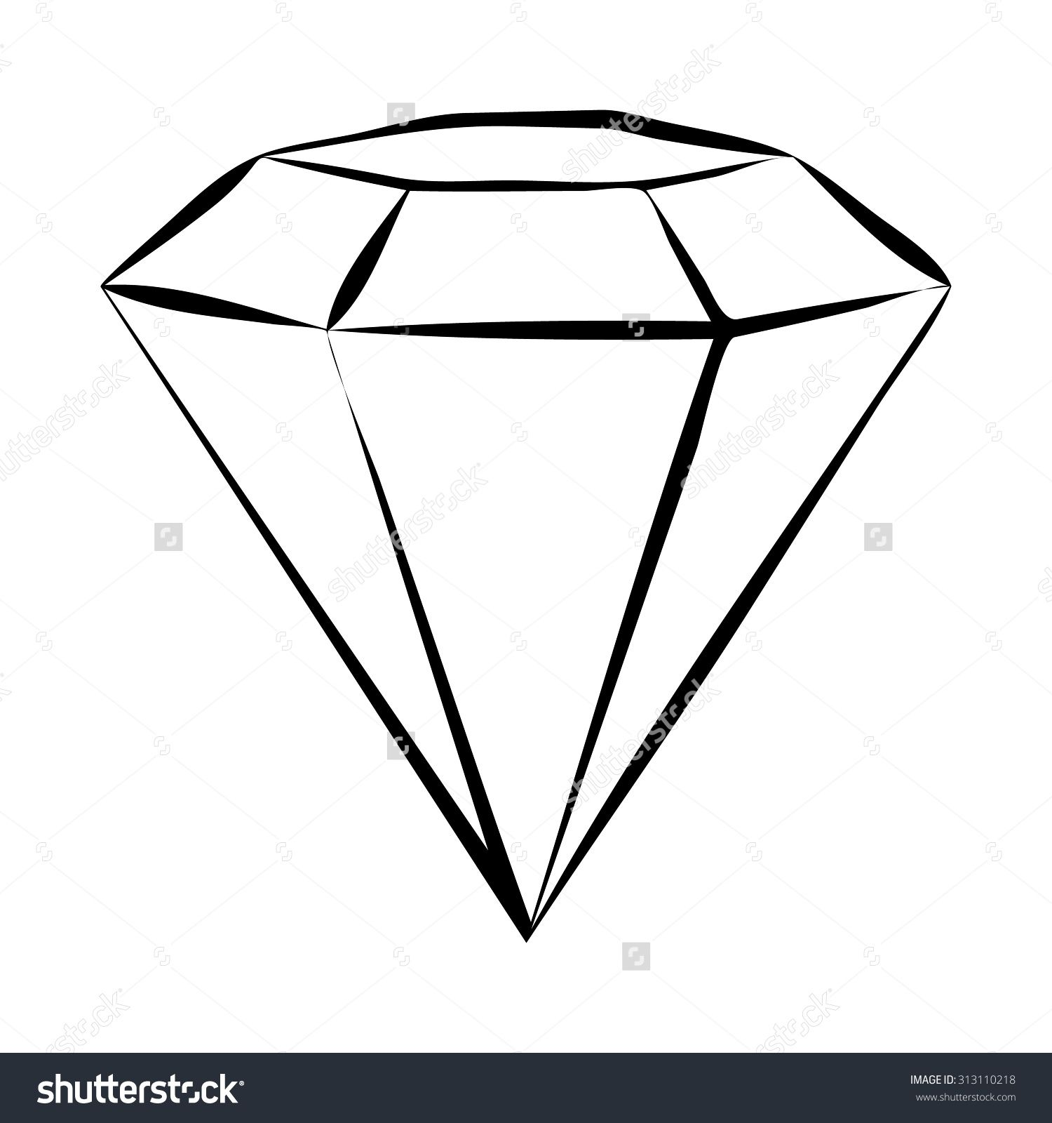 Diamond Symbol Vector Skech. Black And White - 313110218 ...