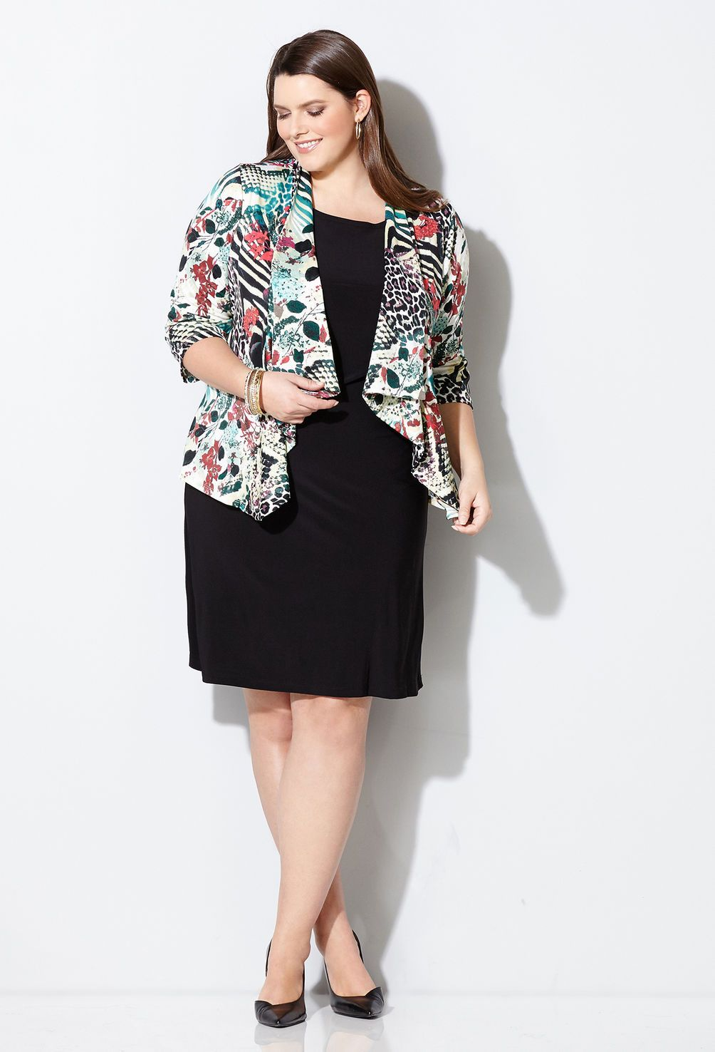 Shop two-piece jacket dresses like our plus size Mixed Animal Jacket Dress available online at avenue.com. Avenue Store