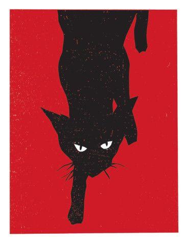 Black Cat 1 Giclee Print By Print Mafia Allposters Co Uk Black Cat Art Black Cat Artwork Black Cat Painting