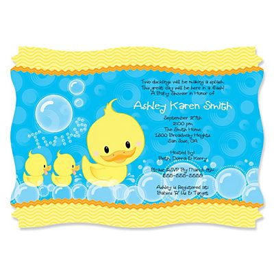 Twin Ducky Ducks Personalized Baby Shower Invitations Ducky duck