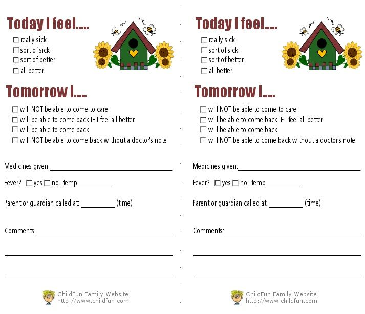 illness-report-formjpg (713×614) day care supplies Pinterest - daycare form