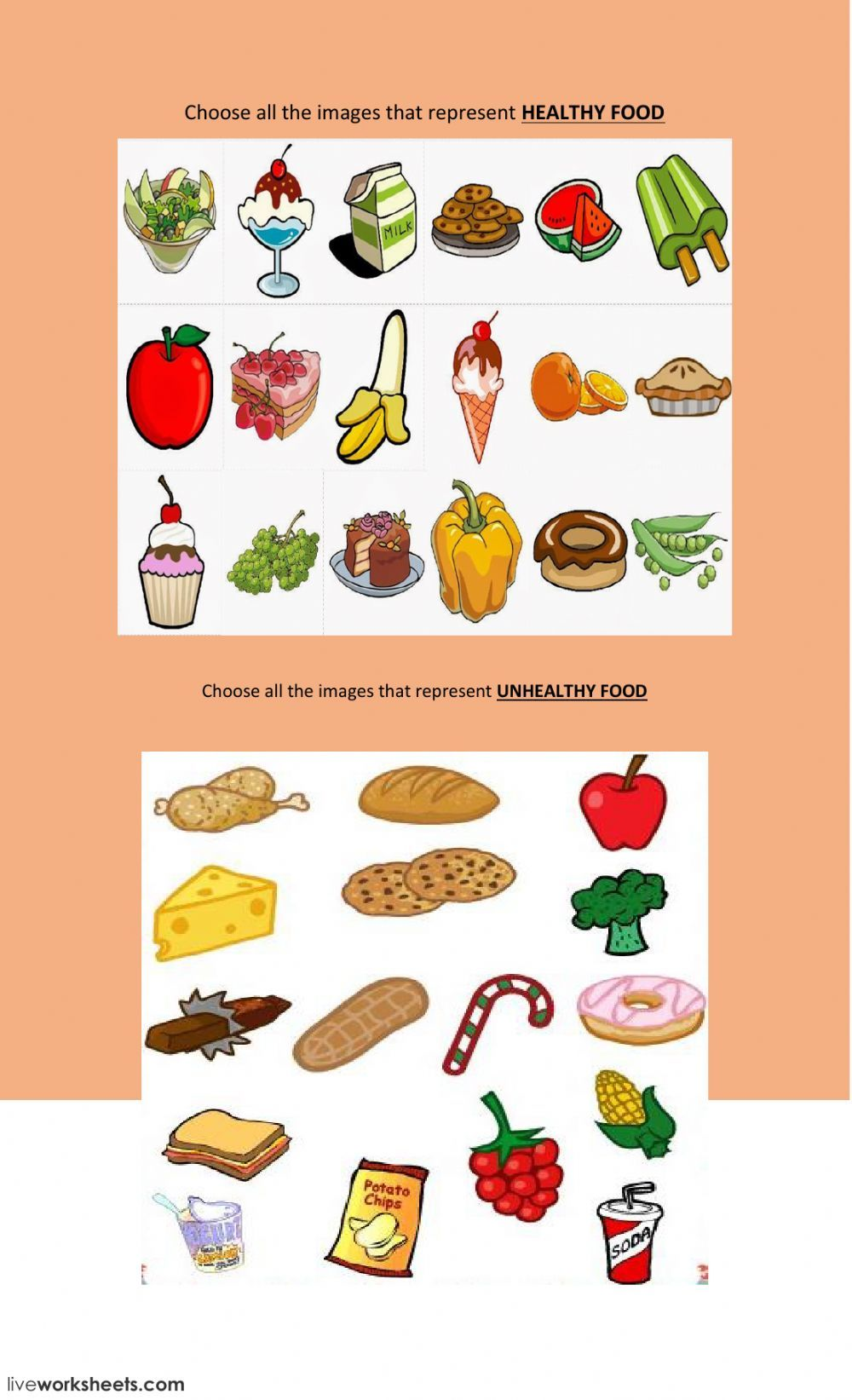 Healthy Unhealthy Food Interactive And Downloadable Worksheet You Can Do The Exercises Online Healthy And Unhealthy Food Unhealthy Food Unhealthy Food List [ 1643 x 1000 Pixel ]
