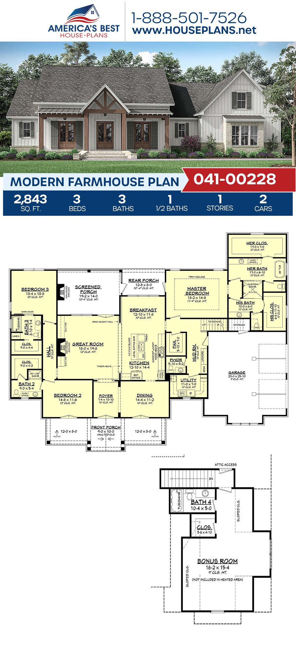 House Plan 041 00228 Modern Farmhouse Plan 2 843 Square Feet 3 Bedrooms 3 5 Bathrooms Modern Farmhouse Plans House Plans Farmhouse Farmhouse Plans