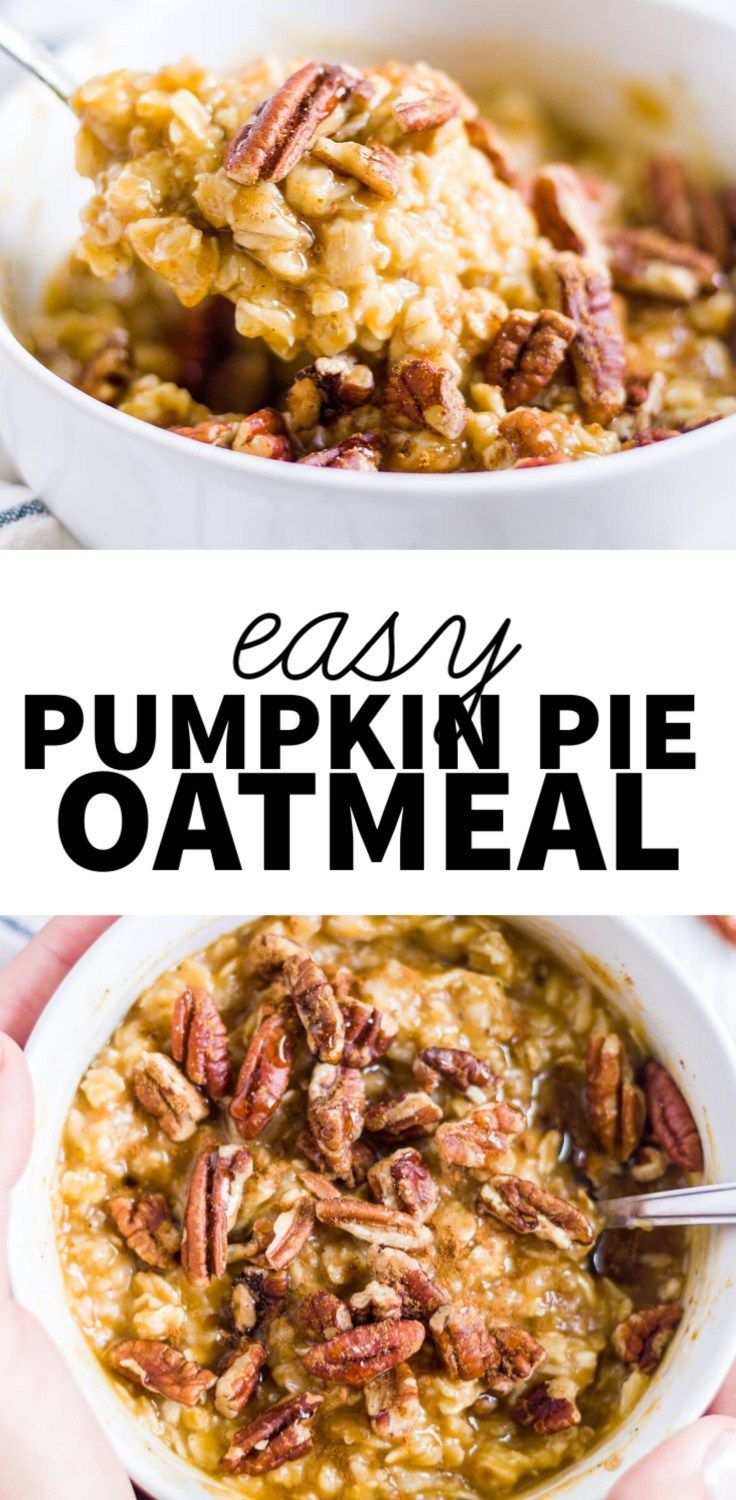 Pumpkin pie oatmeal Get ready for pumpkin pie for breakfast! This pumpkin oatmeal is creamy, full of fall spices and it's naturally gluten free, dairy free and full of fiber to get you through the morning.