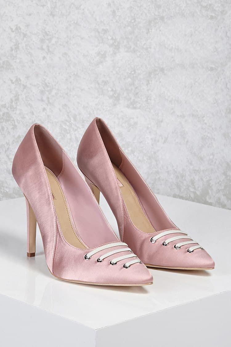 Satin Lace-Front Pumps - Shoes - Heels