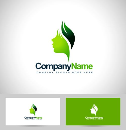 Girl head logos with business card vector