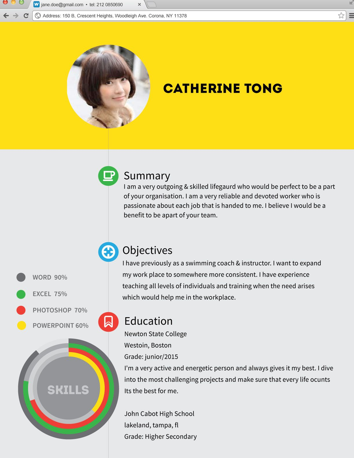 Design this web browser style Resume. Order now and get