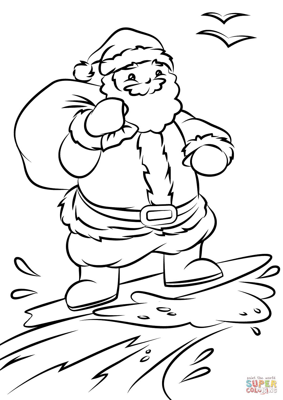 Surfing Santa Colouring
