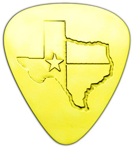 """Unique & Custom [0.38mm Thin Gauge - Traditional Style Semi Tip] Hard Luxury Guitar Pick Made of Genuine Solid Brass w/ Texas State Outline Flag Design """"Gold Yellow Colored"""" {Single Pick} mySimple Products http://www.amazon.com/dp/B017S1DMJ4/ref=cm_sw_r_pi_dp_iRBGwb049P4YJ"""