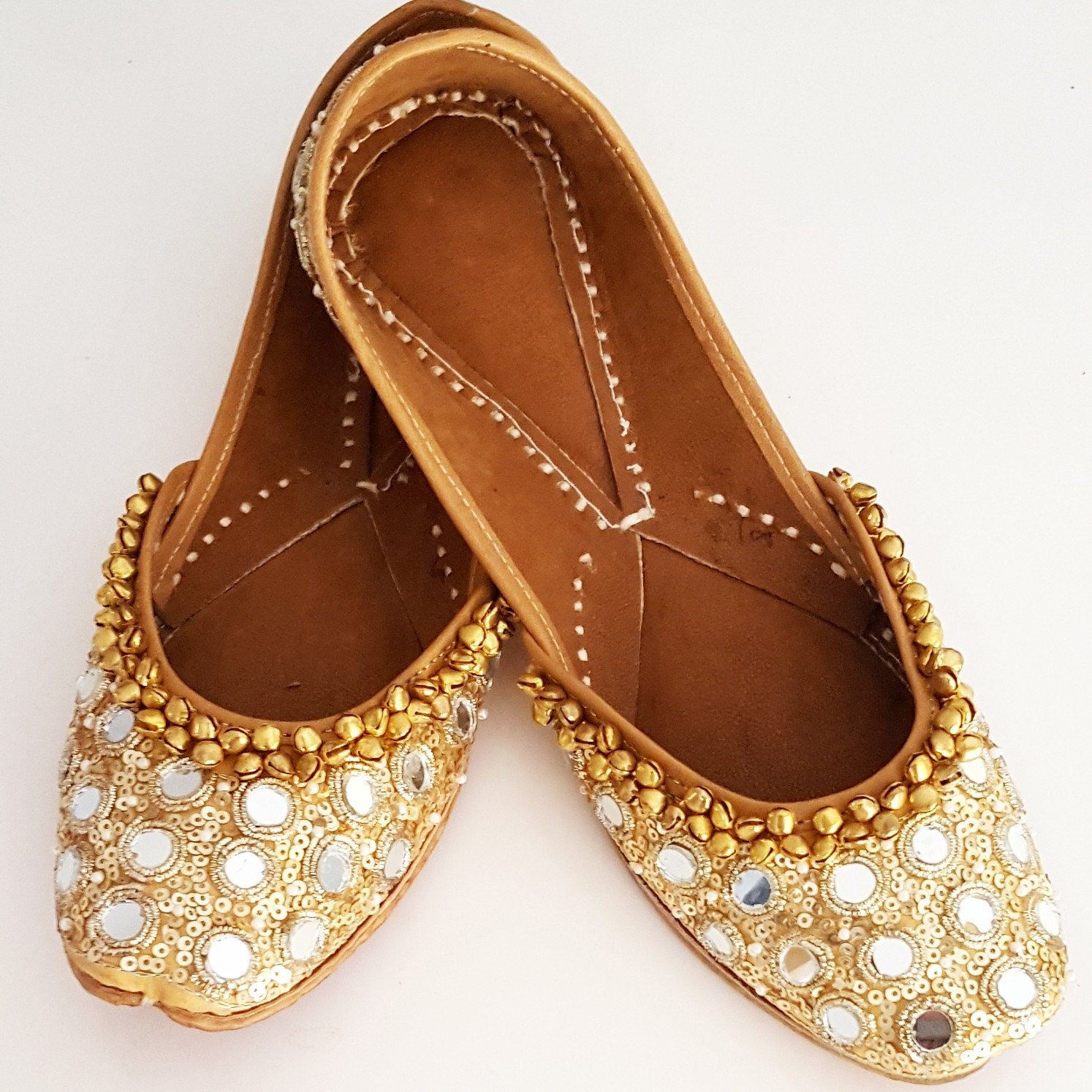 Gold Ballet Flats Punjabi Jutti with Mirror Work are now available