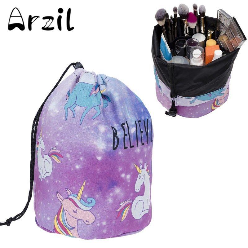 Cosmetic Bag Drawstring Barrel Shaped Cute Cartoon Magie Women ...