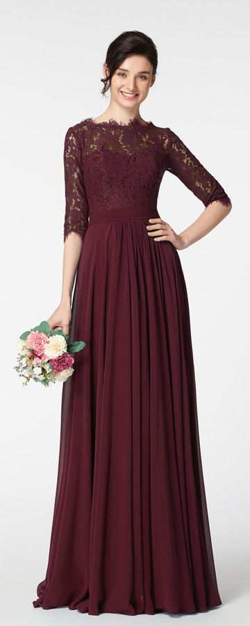 7a50c0c0ae66 Modest Dark Burgundy Prom Dress Long Sleeves | Prom Dresses ...