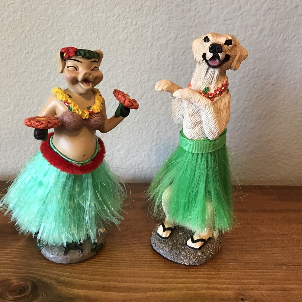 Hula Hawaiian Dancers Cobb Wobble Dashboard Car Tiki Dog Pig ...