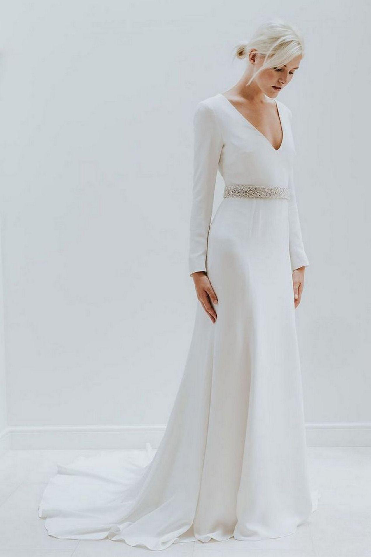 Nice simple white long sleeve wedding dresses ideas weddings