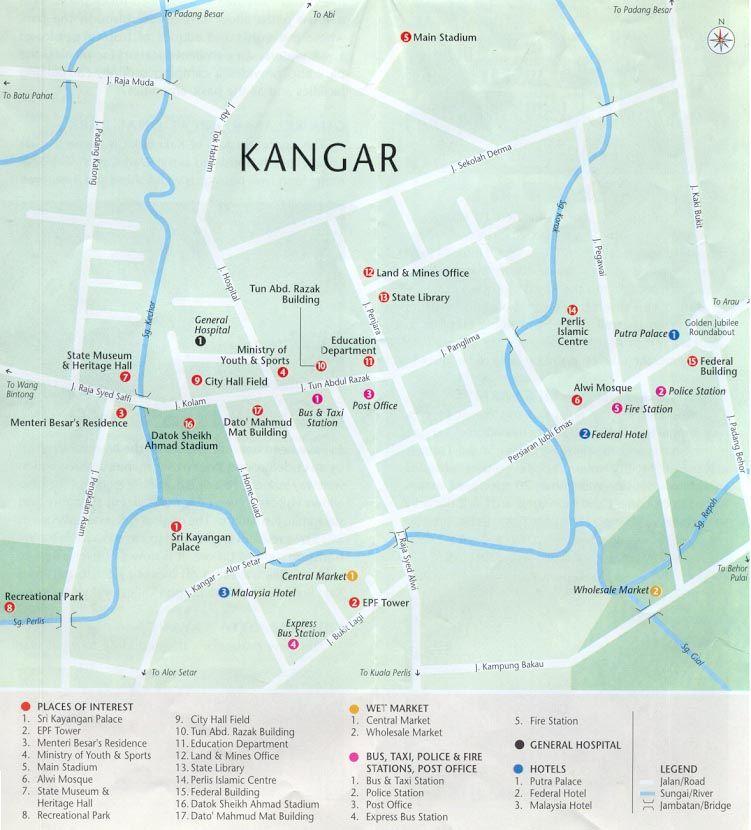 Peta Pusat Bandar Kangar Perlis listed by Malaysiamaporg Map of