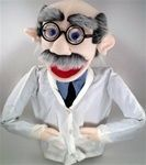 """18"""" scientist puppet with thick glasses, big nose and receding hair with salt and pepper mustache."""