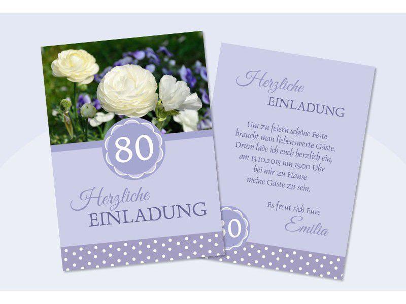 Einladung Zum 80 Geburtstag Kostenlos Einladung 80 Pinterest