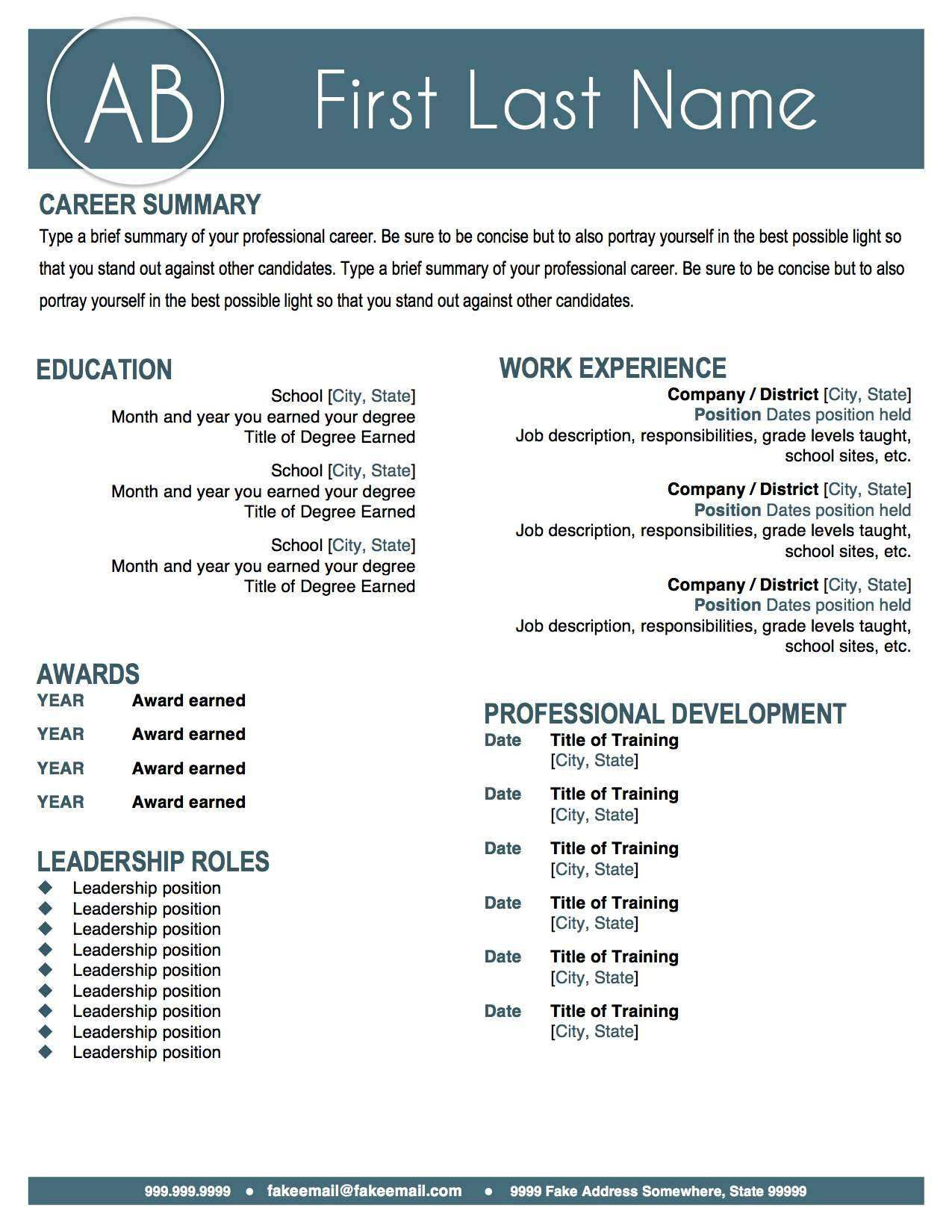How To Make A Resume In Microsoft Word Entrancing Modern Teal Resume Templatemake Your Resume Pop With This Sleek .