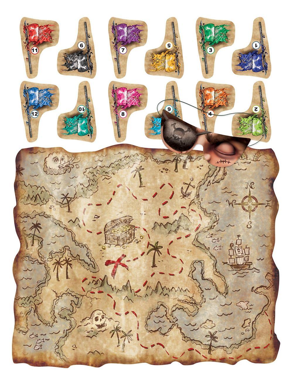 Pirate Treasure Map Pin The Flag Children Kids Fun Game Halloween Party Decor