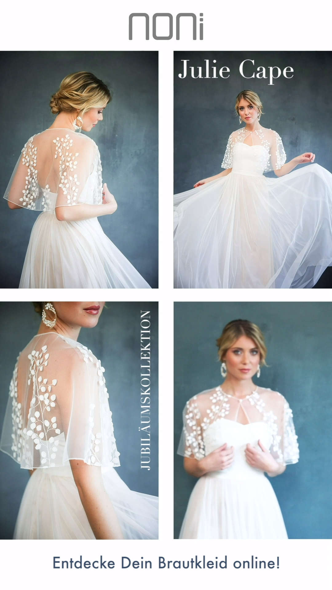 Photo of Multi-part wedding dress with transparent bridal cape with 3D leaves, romantic wedding dress