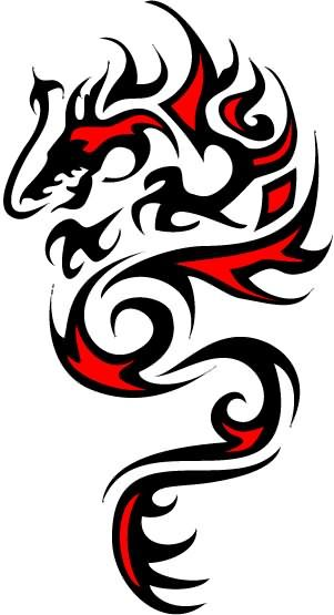 Black And Red Dragon Awesome Design Clipart Best Clipart Best Celtic Dragon Tattoos Custom Fake Tattoos Tribal Dragon Tattoos