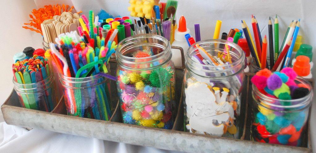 Fun way to store kids art supplies art caddy and mason