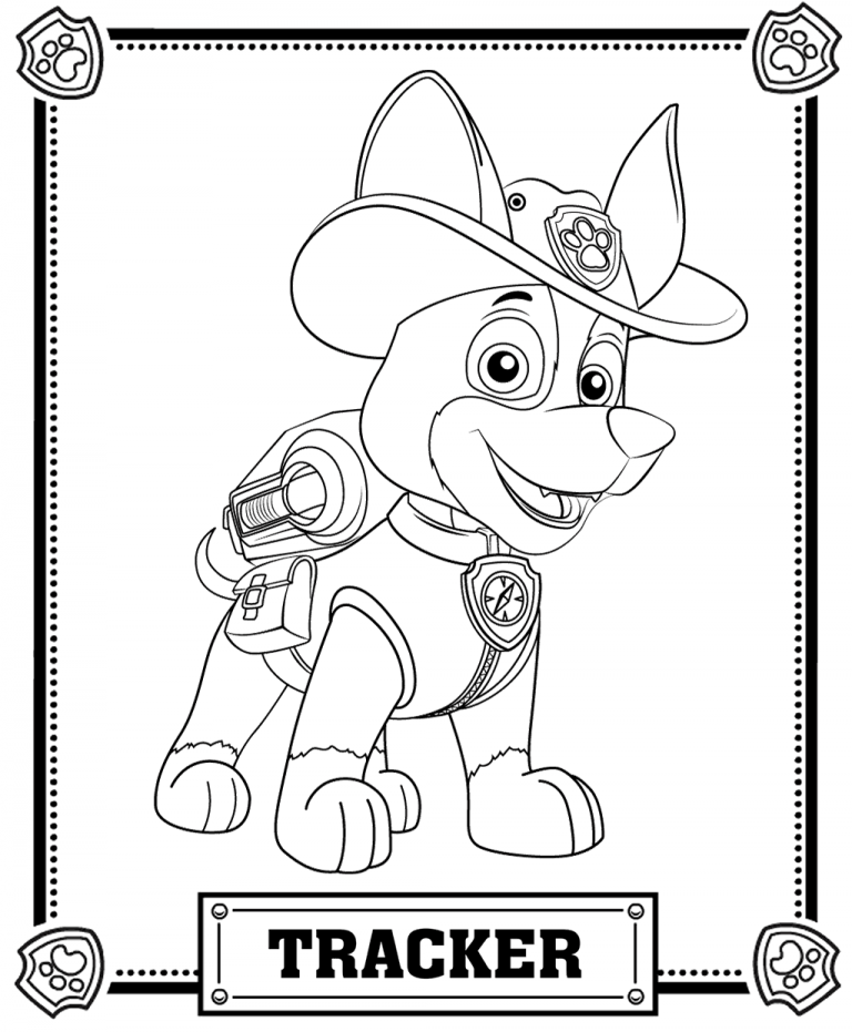 Tracker | Paw patrol coloring pages, Paw patrol coloring ...