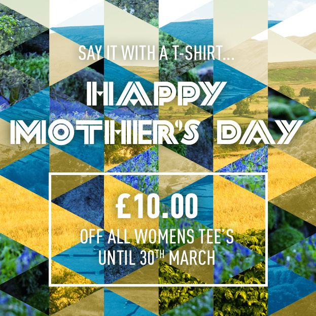 Mother's Day offer: £10 off all our women's tees until March 30th - say it with a t-shirt!  #MothersDay #Mother #Mothers #Family #Fashion #Offer #Deal #Offgrid #Offgridclothing