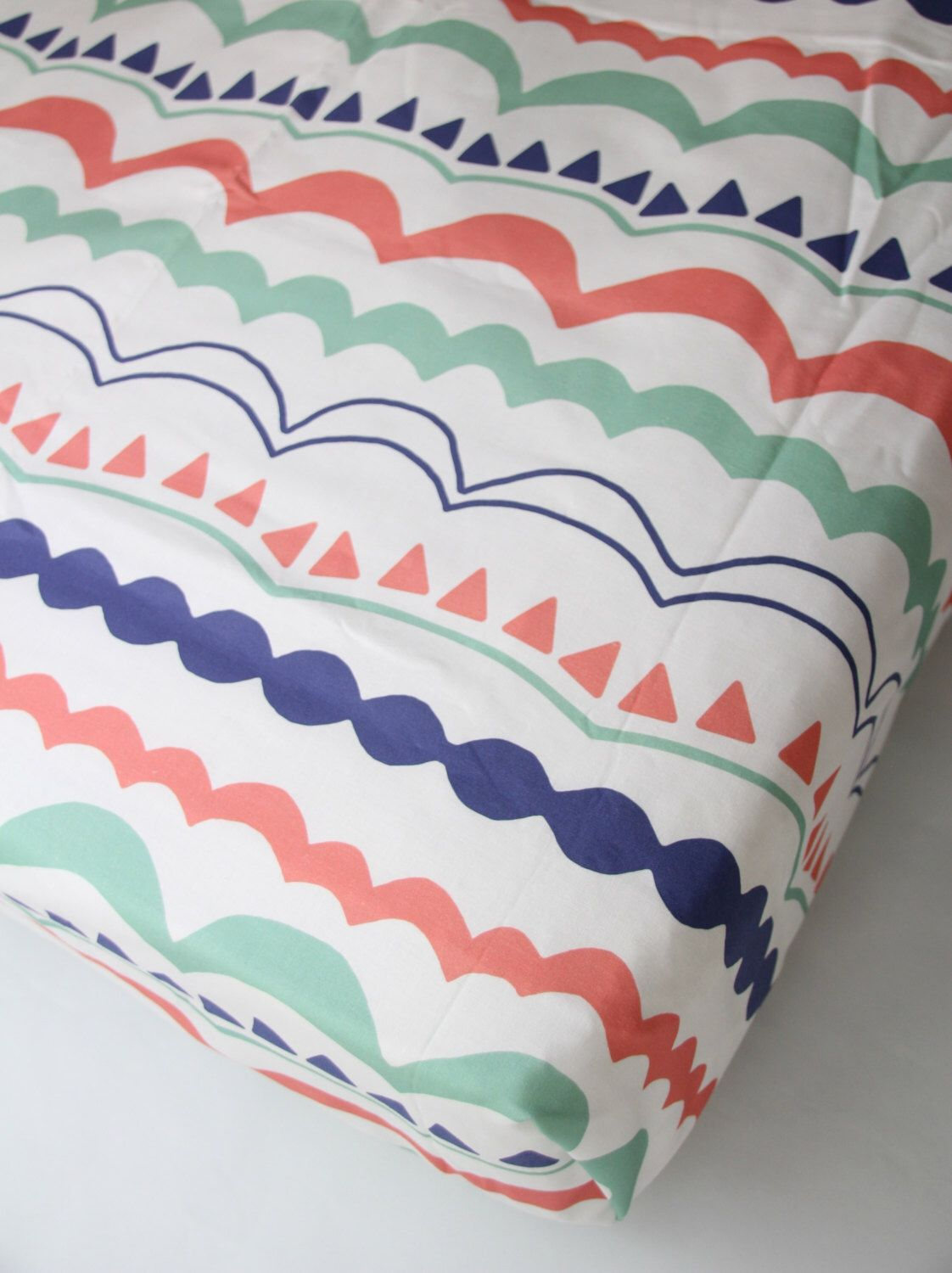 Coral Mint Fitted Crib Sheet Custom Crib Bedding Ready to