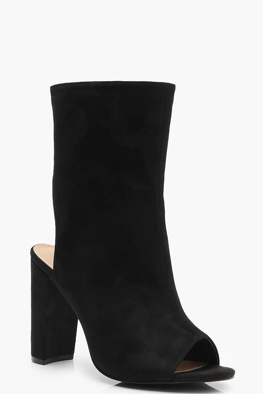 sale uk women purchase newest Womens Extra Wide Fit Peeptoe Shoe Boots - black - 8 ...