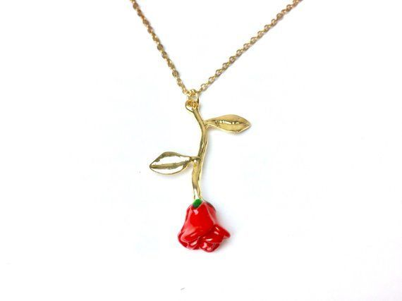 and the beast rose Enchanted rose Flower Red Rose necklace Gold, silver, rose gold Personalised gift for women, necklaces for women Beauty and the best rose Enchanted rose Flower Red Rose necklace Gold, silver, rose gold Personalised gift for women, necklaces for women