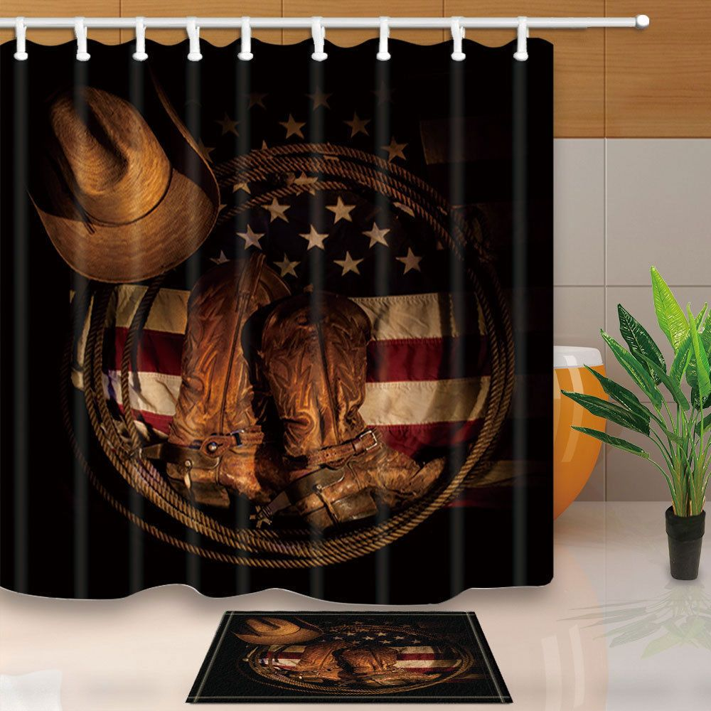 11 15 Western Cowboy Shoes On American Flag Shower Curtain Set